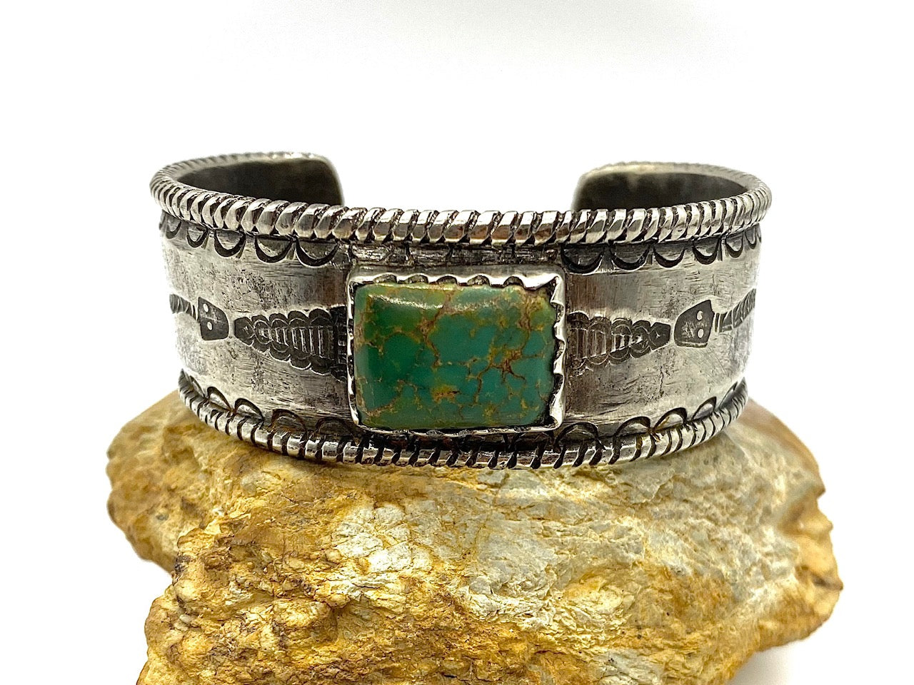 Jock Favour Silver and Royston Turquoise Bracelet