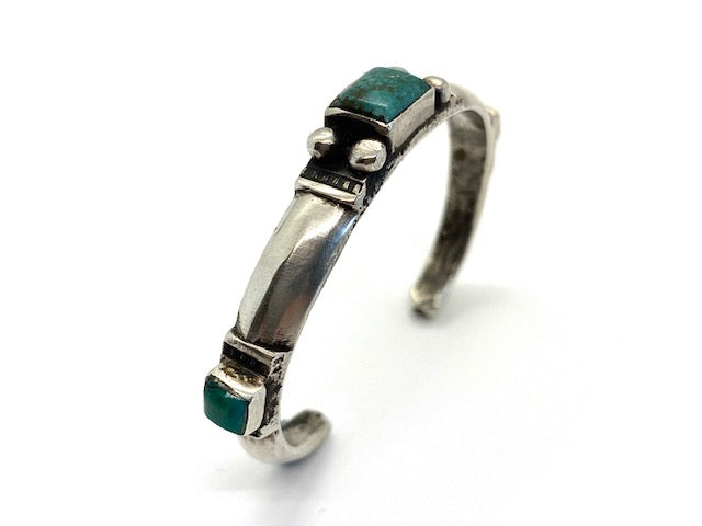 Jock Favour Coin Silver Triangle Bracelet with Fox Turquoise