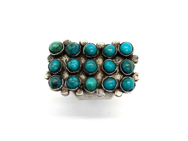 Jock Favour High Dome Fox Turquoise Cluster Ring