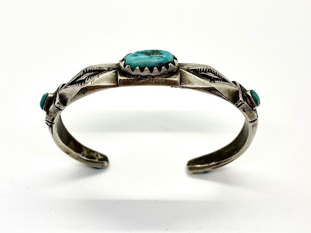 Jock Favour 3 Stone Diamond Bracelet with Fox Turquoise