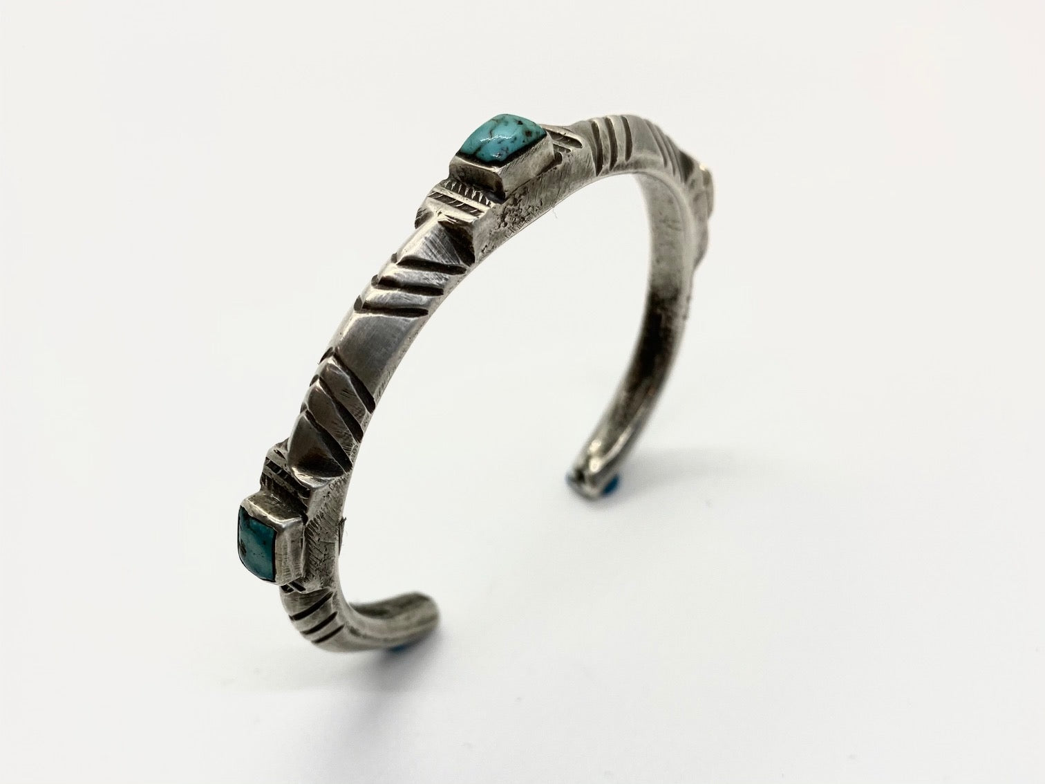 Jock Favour Coin Silver 3 Stone Turquoise Stacker Bracelet