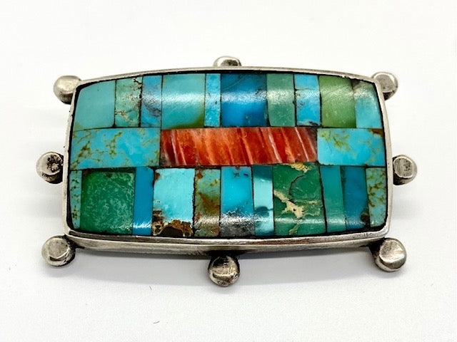 Jock Favour Turquoise and Spiny Oyster Mosaic Pin