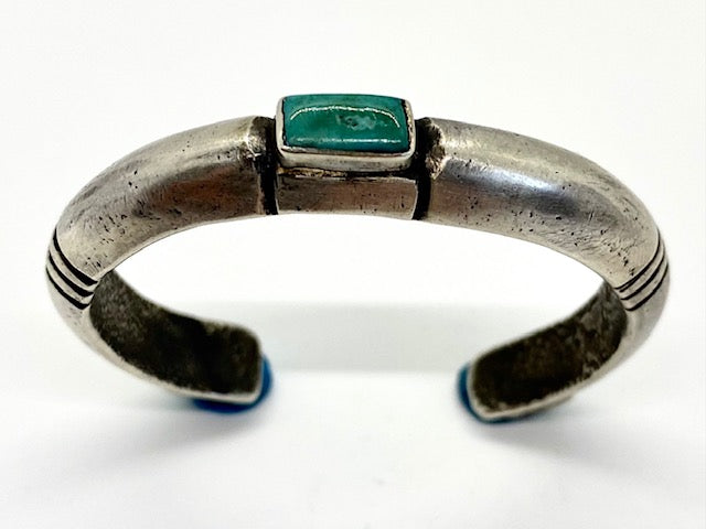Jock Favour 3 Stone Coin Silver and Turquoise Cuff