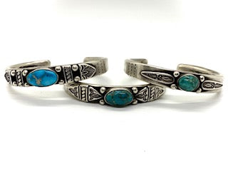 Joe O'Neill Silver Stacker Bracelet with Fox Turquoise