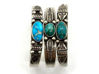 Joe O'Neill Silver Stacker Bracelet with Royston Turquoise
