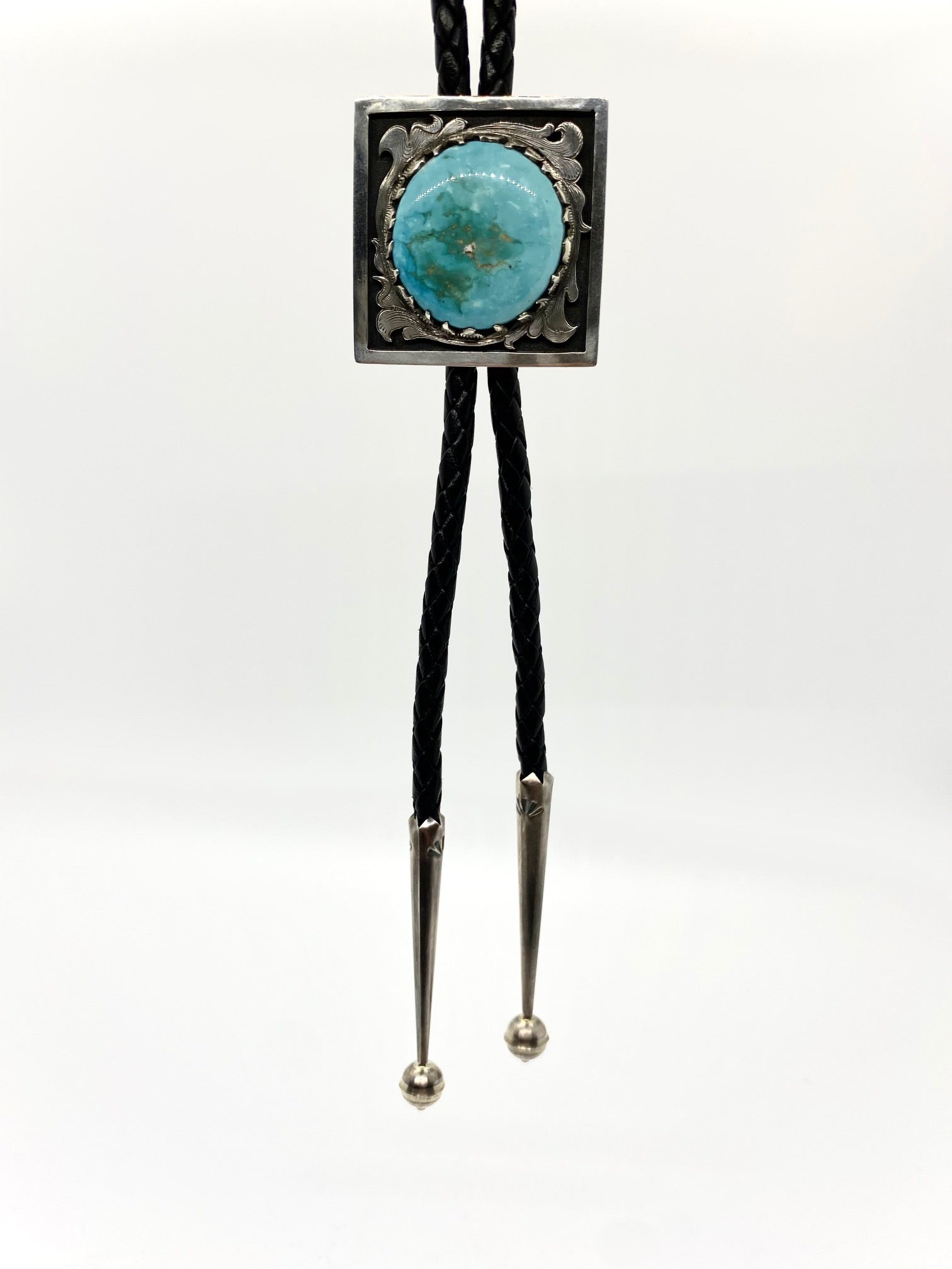 Engraved Sterling Silver and Turquoise Bolo Tie
