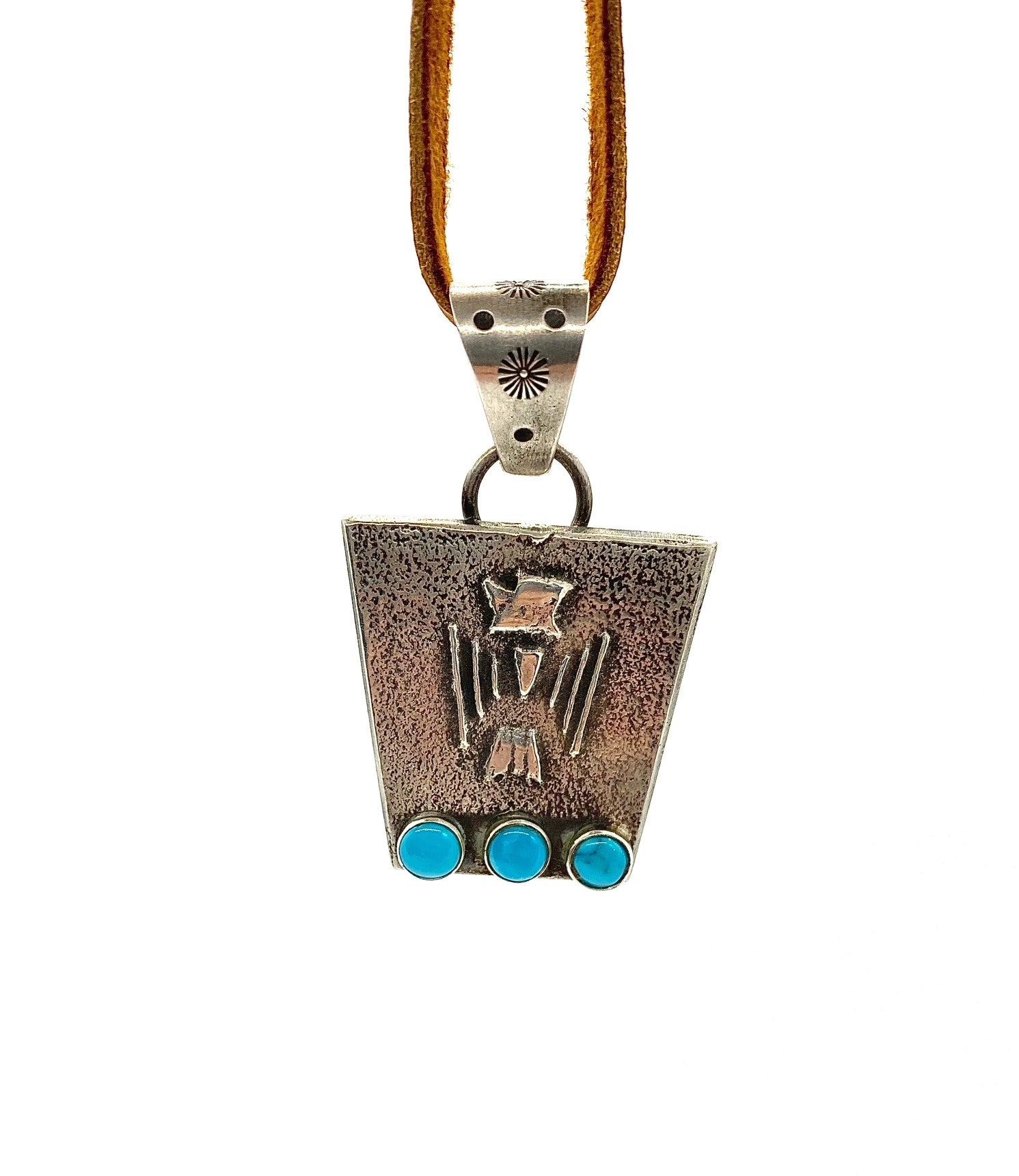 Sterling Silver and Turquoise 3 Stone Pendant Necklace
