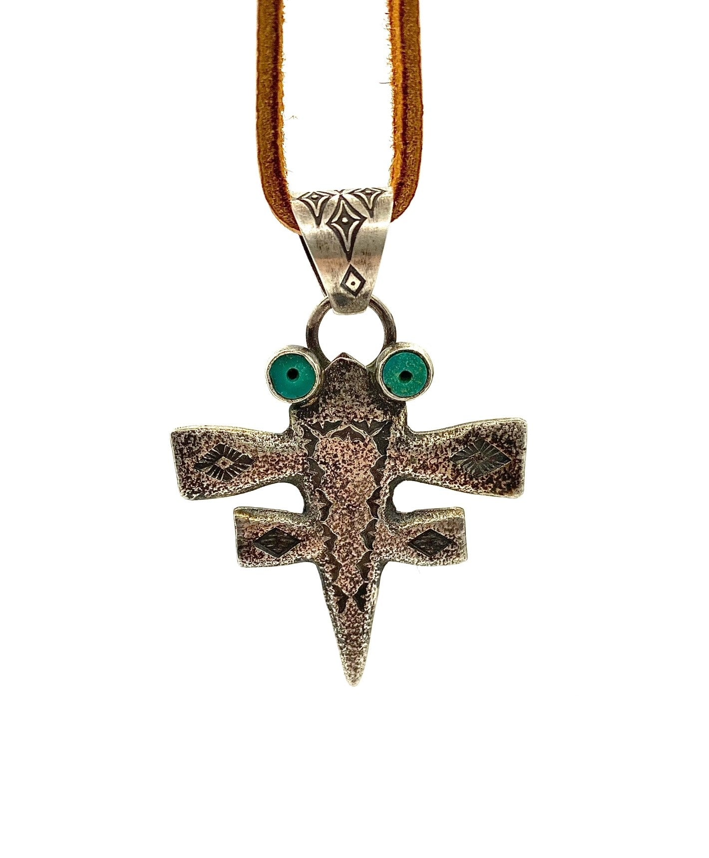Sterling Silver and Turquoise Dragonfly Pendant Necklace