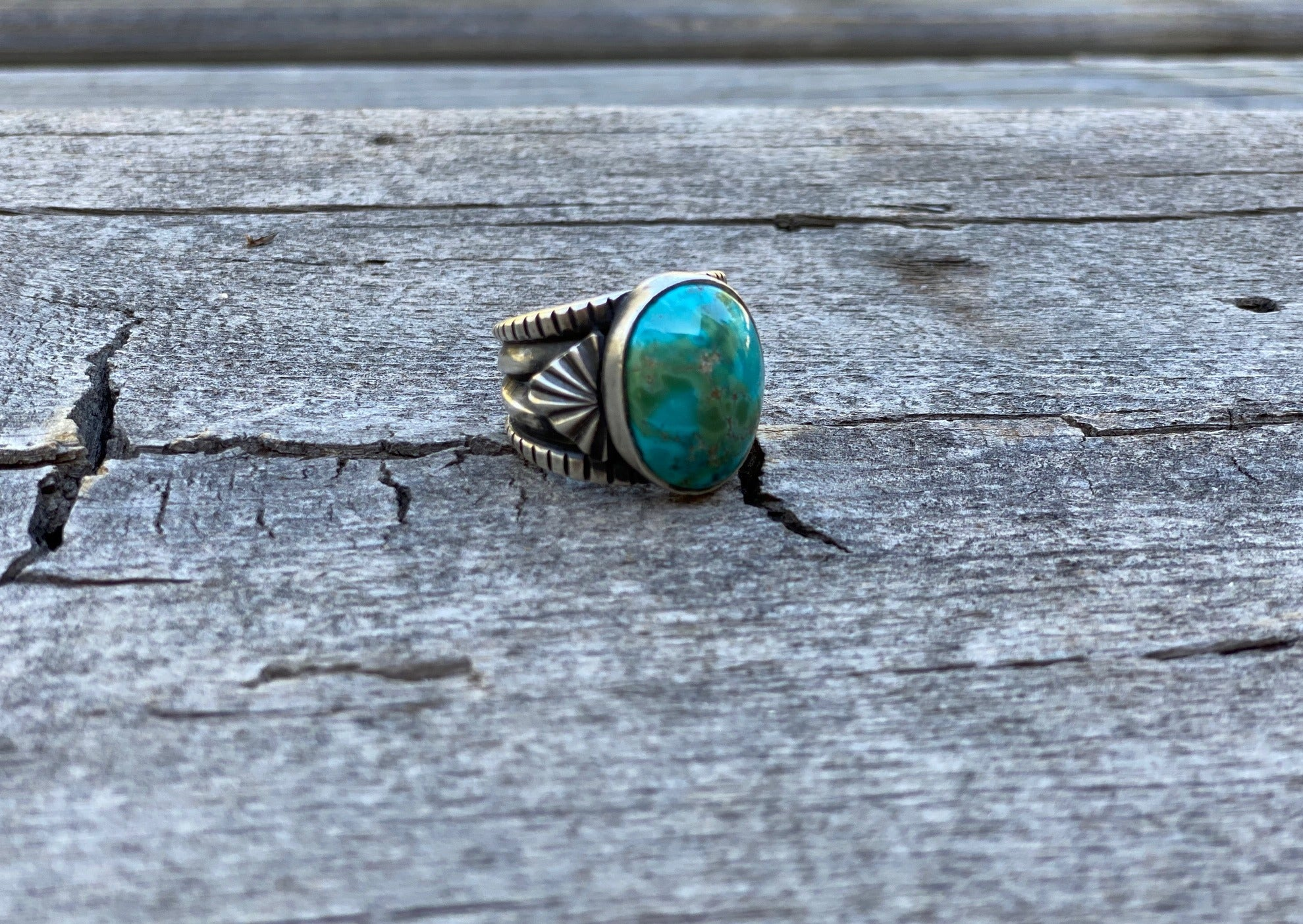 Silver ring with sierra nevada turquoise