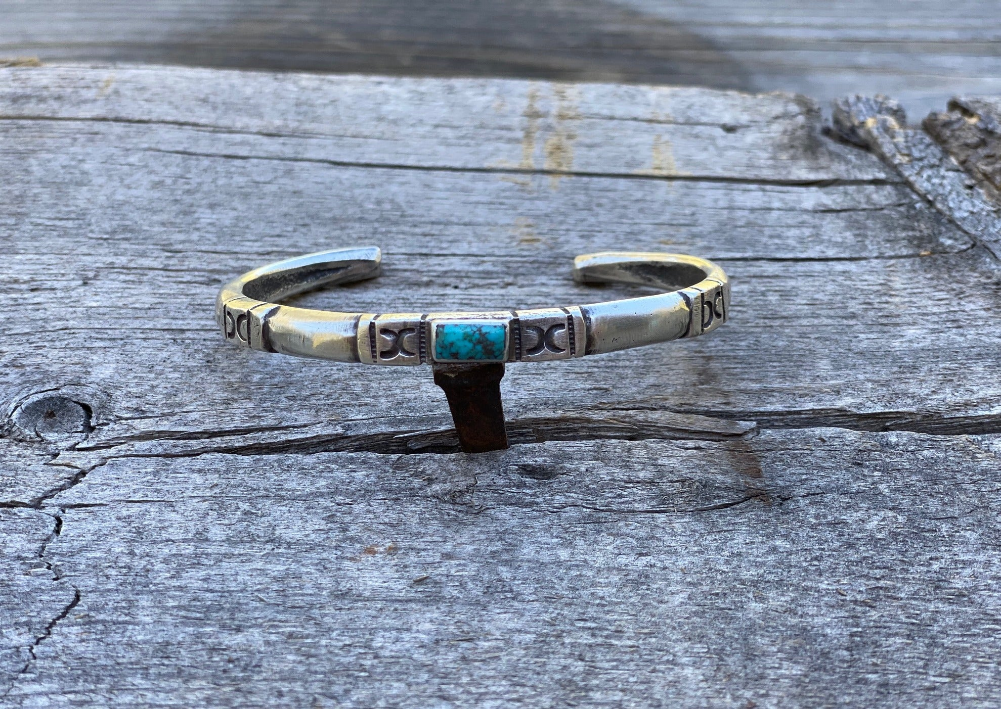 Silver and turquoise southwest bracelet with Easter Blue Turquoise