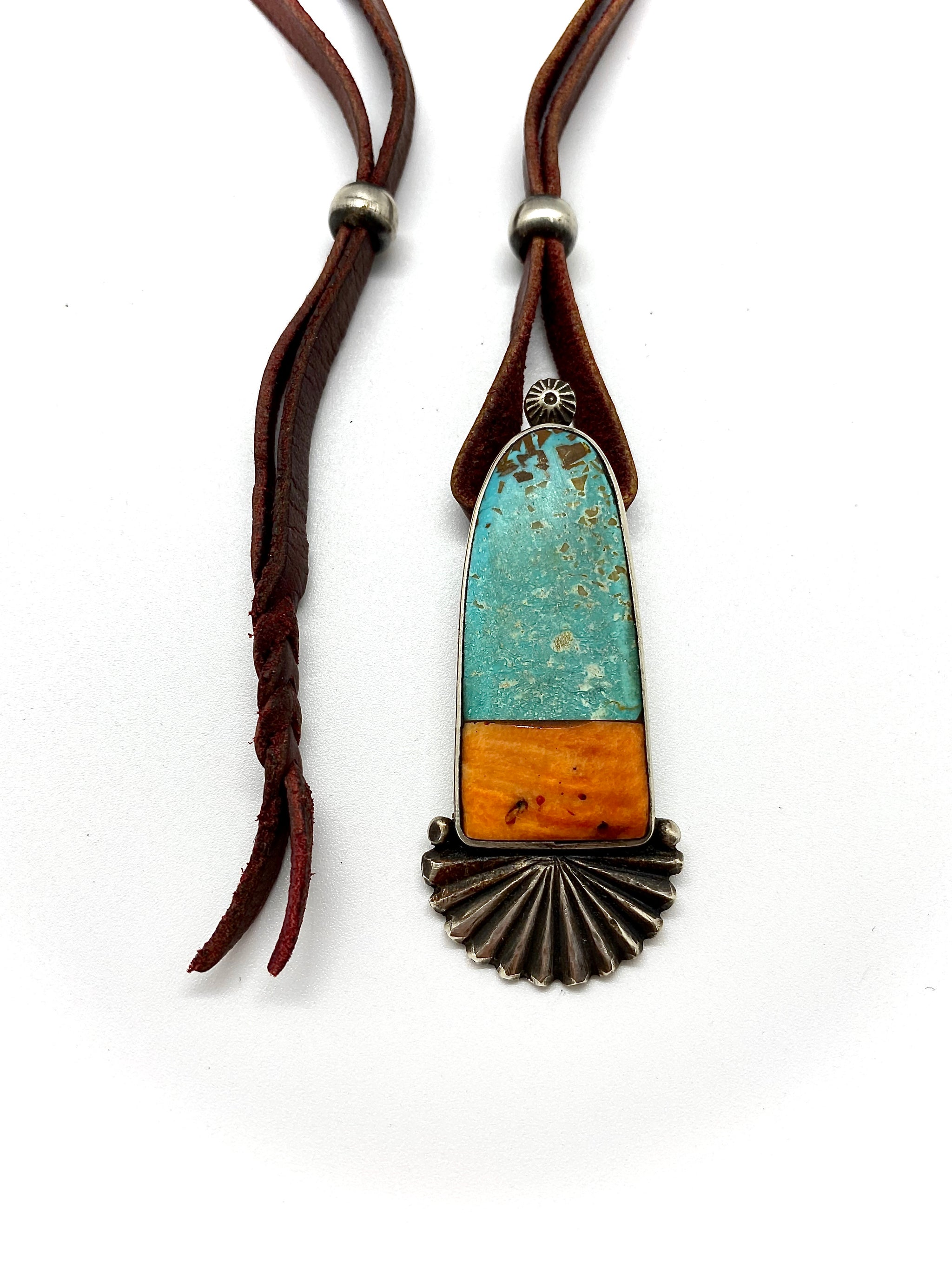 Jock Favour Turquoise and Spiny Oyster Pendant