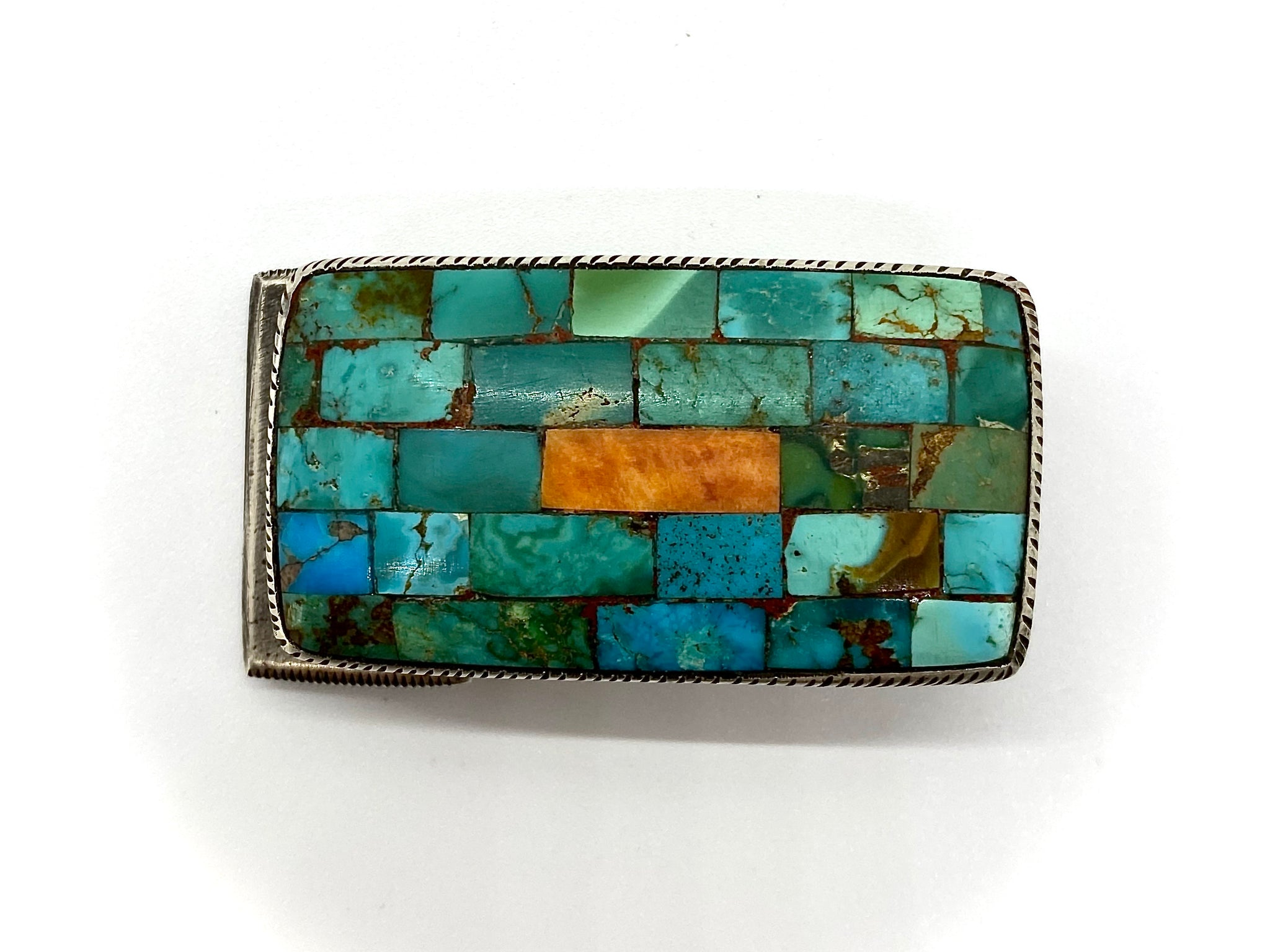 Jock Favour Turquoise and Spiny Oyster Inlay Buckle