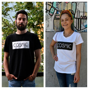 """Cosmic"" Black and White Partner T-Shirts - Cosmic Hippos"