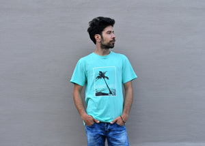 """Summer Vibes"" Mint Green T-Shirt, Regular Fit, Round Neck - Cosmic Hippos"