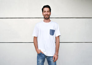 White T-Shirt with Jeans Pocket, Round Neck, Regular Fit - Cosmic Hippos