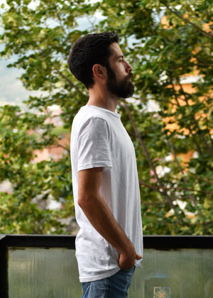 Basic White (Slub), T-Shirt: Round Neck, Regular Fit - Cosmic Hippos