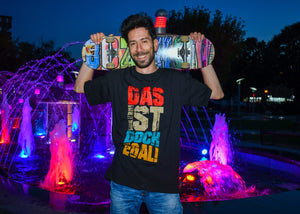 Black T-Shirt- 'Das ist Doch Egal', Round Neck, Drop Shoulder - Cosmic Hippos