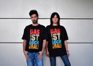 Unisex Black T-Shirt- 'Das ist Doch Egal', Round Neck, Drop Shoulder - Cosmic Hippos