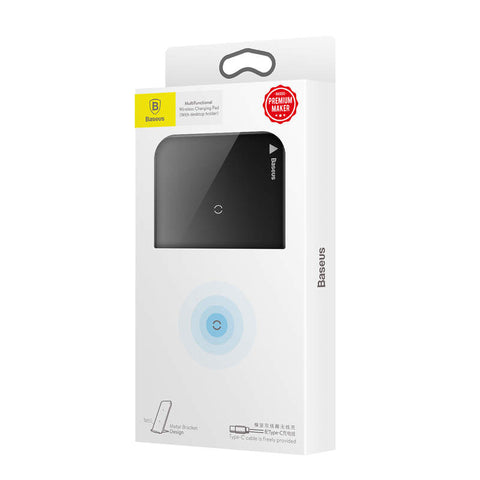 Baseus Wireless Charger Pad with Desktop holder + Type-C Cable 10W Black (WXHSD-01) - www.e-navigacijos.lt