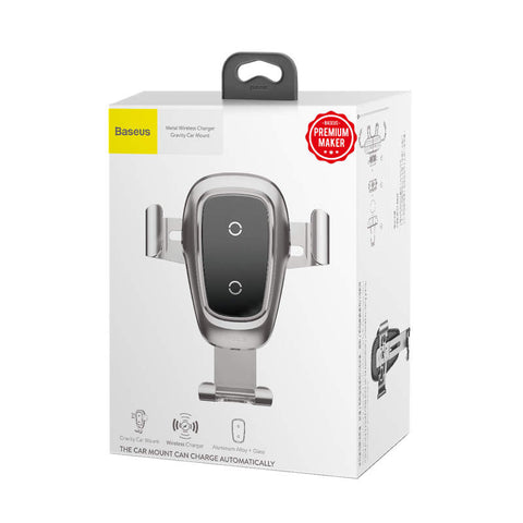 Baseus Car Mount Wireless Charger Metal Phone Holder (Air outlet Version) Silver (WXYL-B0S) - www.e-navigacijos.lt