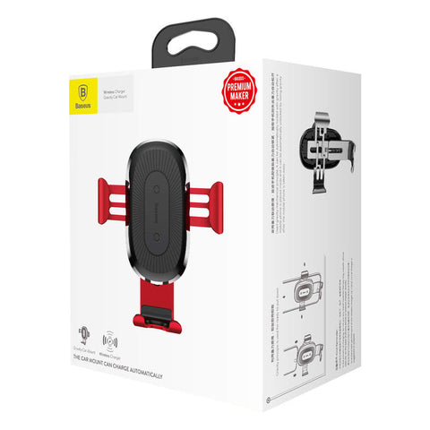 Baseus Car Mount Wireless Charger Gravity Phone Holder Red (WXYL-09) - www.e-navigacijos.lt