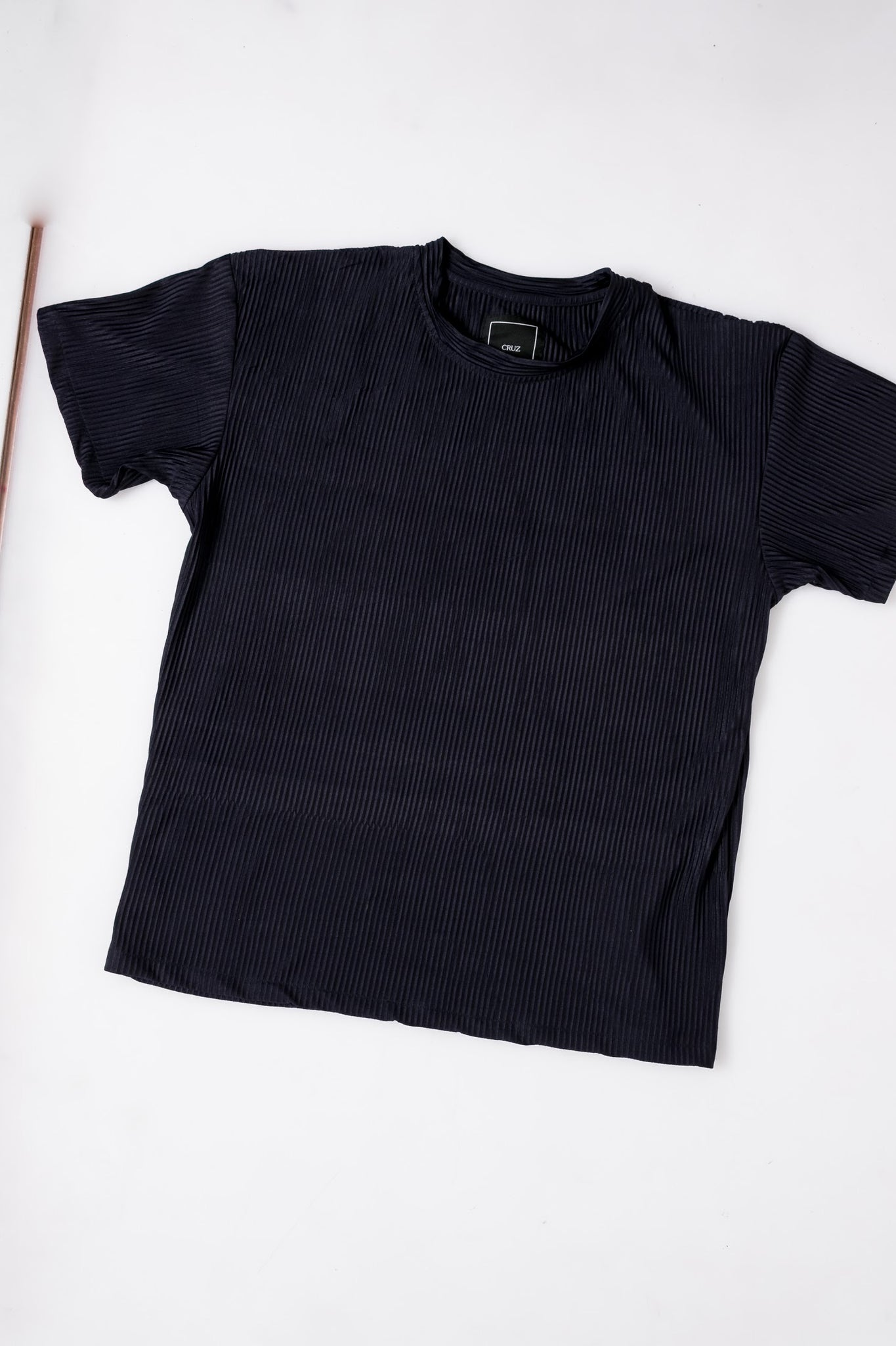 Navy Blue Pleated Tee
