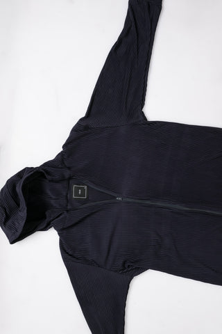 Navy Blue Pleated Hoodie