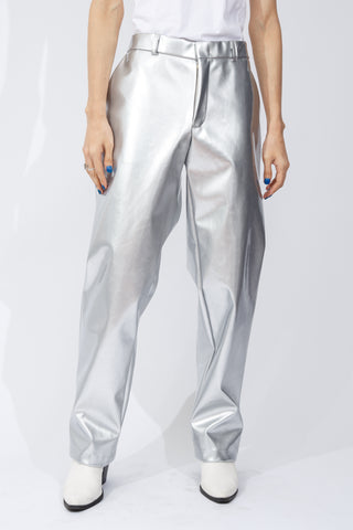 F/W20 Silver Patent-Leather Trouser