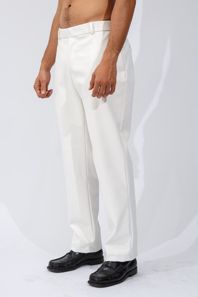 F/W20 White Vegan Leather Trousers
