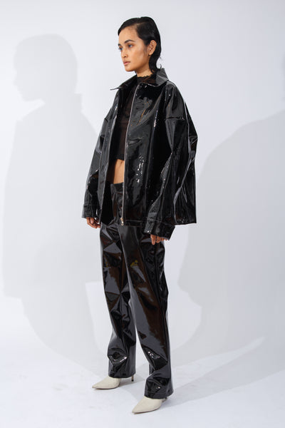 F/W20 Black Patent-Leather Trouser