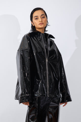 F/W20 Black Patent-Leather Jacket