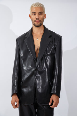 F/W20 Black Vegan Leather Blazer