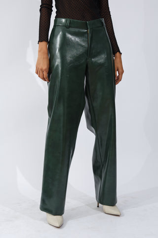 F/W20 Green Vegan Leather Trousers