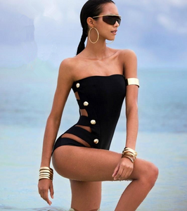 Siamese slim tube top swimsuit black