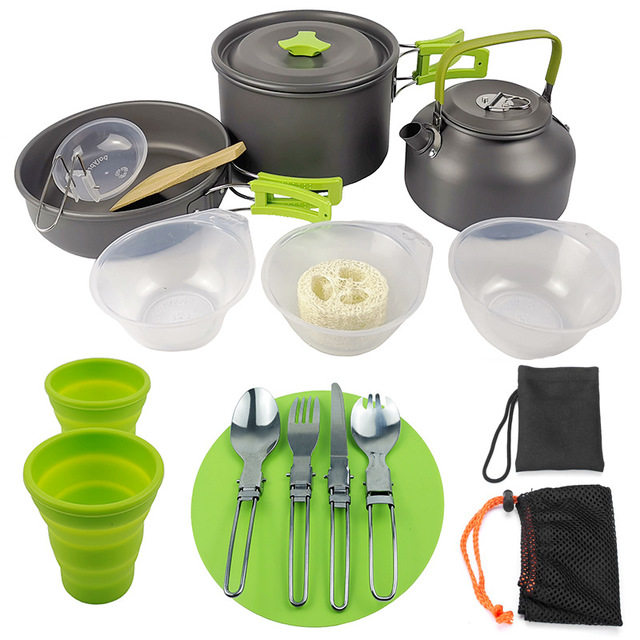 Outdoor Camping Hiking Cookware Tableware Cookware Lightweight Folding Picnic Cooking Hiking Picnic BBQ Tableware Equipment