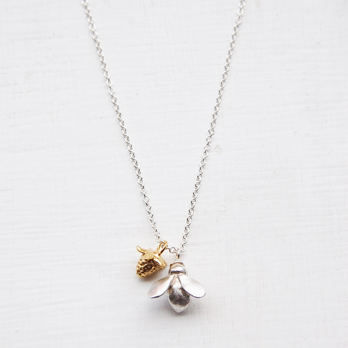 Honeybee & Gold Strawberry Necklace