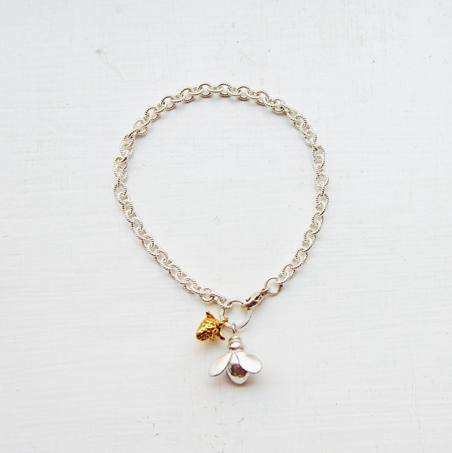 Honeybee & Gold Strawberry Bracelet
