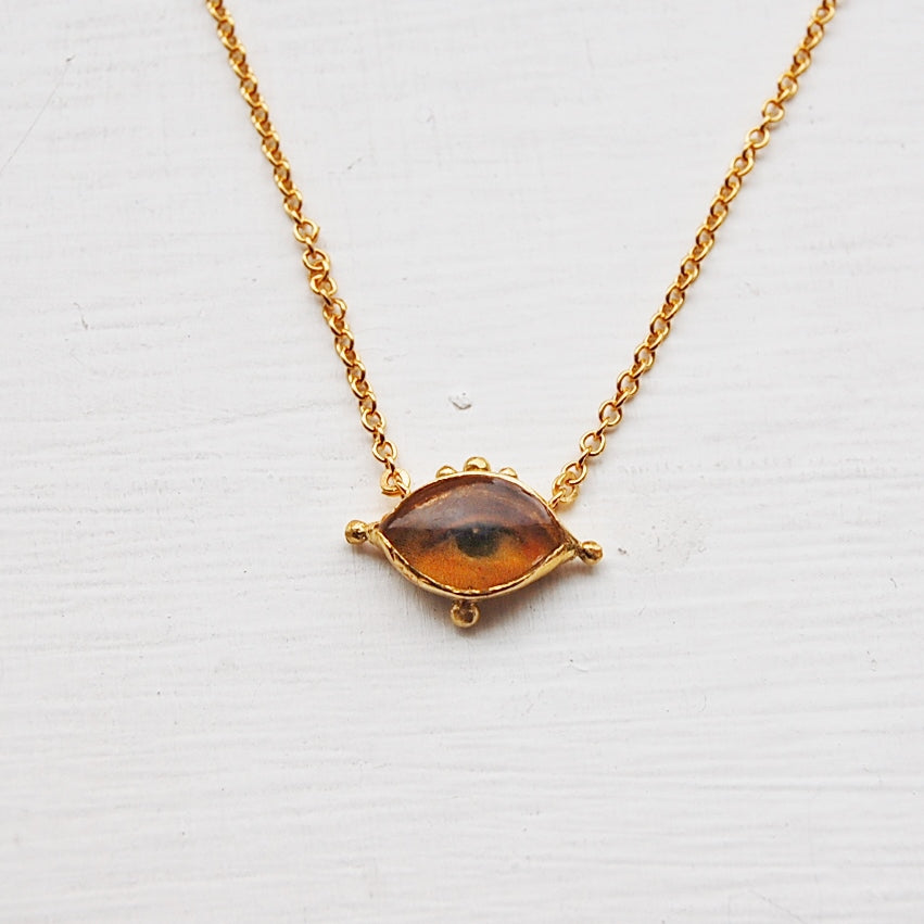 Lover's Eye Necklace, Gold dipped
