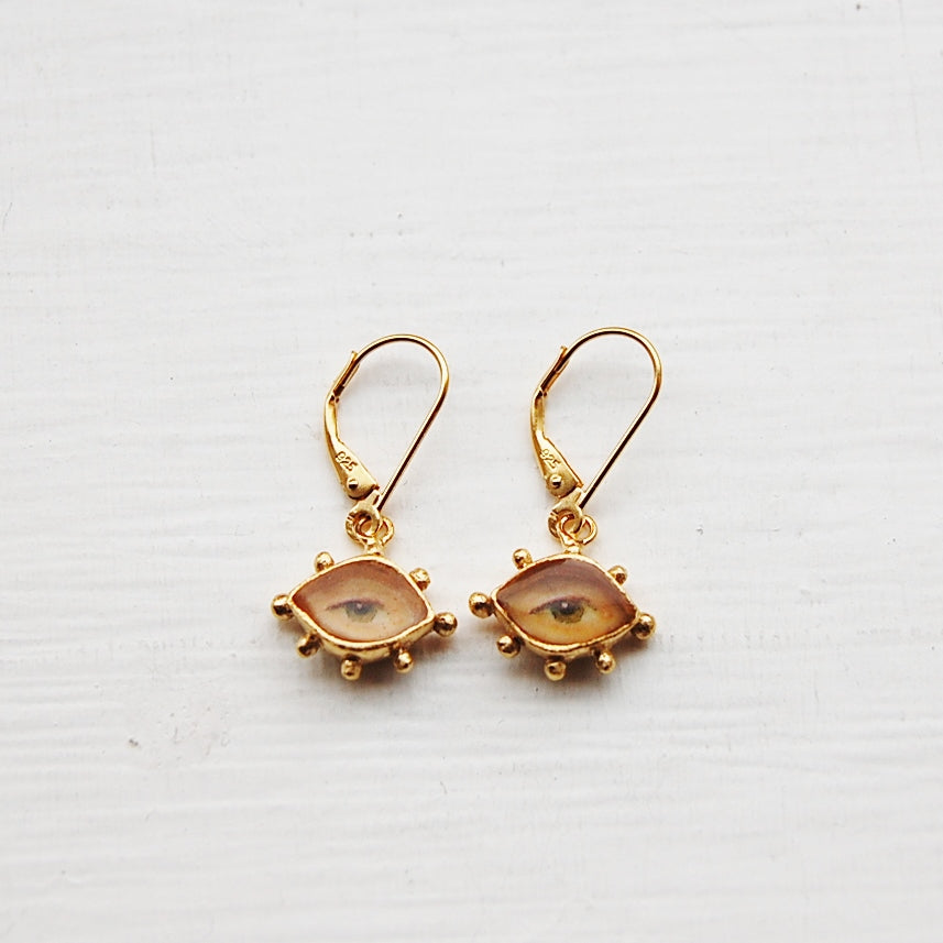 Lover's Eye Earrings, Gold Dipped