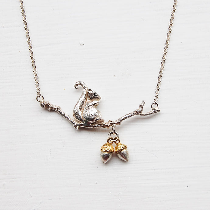 Squirrel & Acorns Necklace