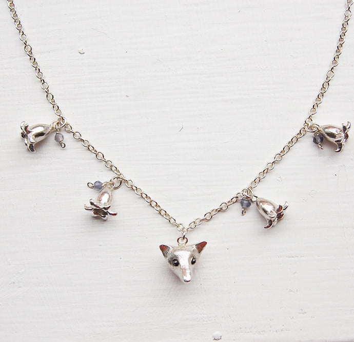 Fox in the Bluebells Necklace