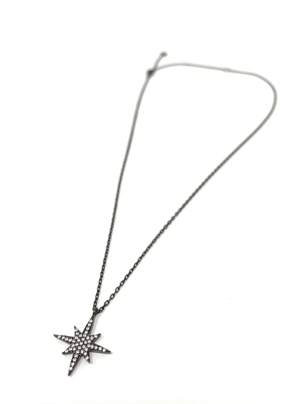 North Star Necklace Gunmetal