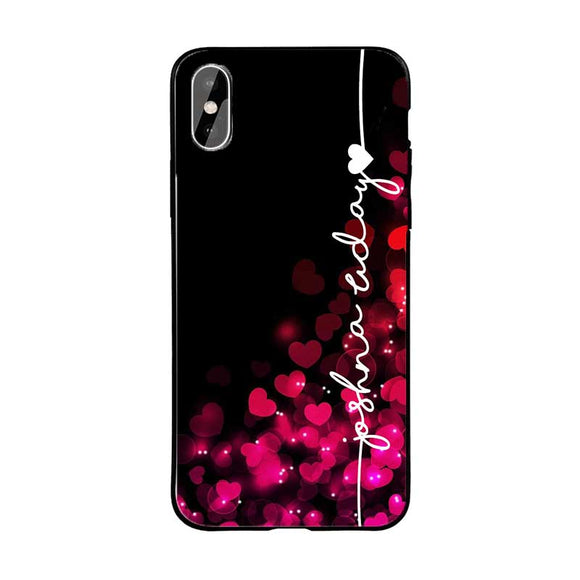 Black Red Hearts Name Protective Case
