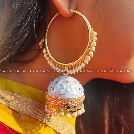Light Blue Ring Enamel Meenakari Earring