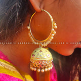 Light Green Ring Enamel Meenakari Earring