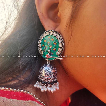 Peacock Oxidized Meenakari Earring