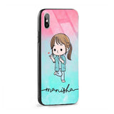 Glass Case With Green Red Cute Girl Name