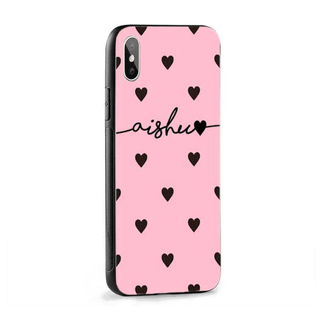 Pink Black Hearts Wave Name Protective Case