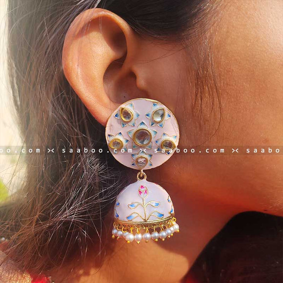 Whitish Peach Enamel Meenakari Earring