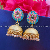 Skyblue Golden Enamel Meenakari Earring